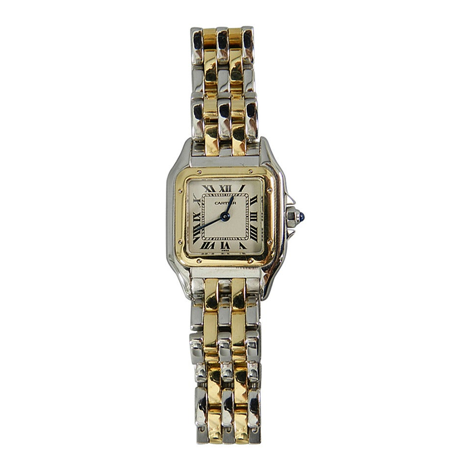 Cartier Panthere Ladies 2 Row 18k Gold And Stainless Watch