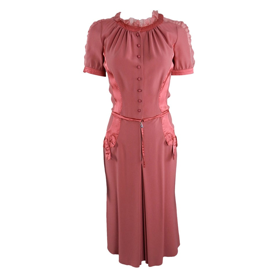 Louis Vuitton Rose Color 1930's Vintage Style Dress 1