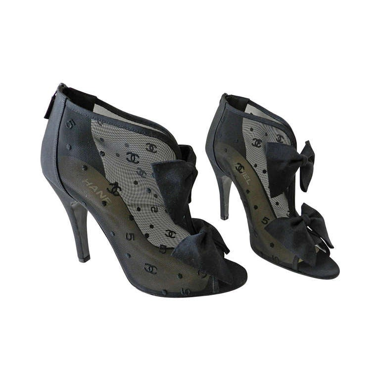 Chanel Black Sheer Mesh Booties with Bows For Sale