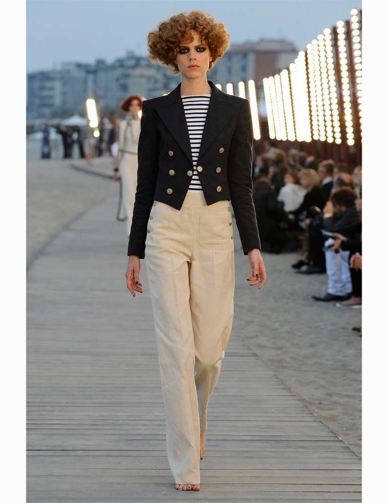Chanel 2010 Resort Runway Navy Linen Pants Suit at 1stdibs