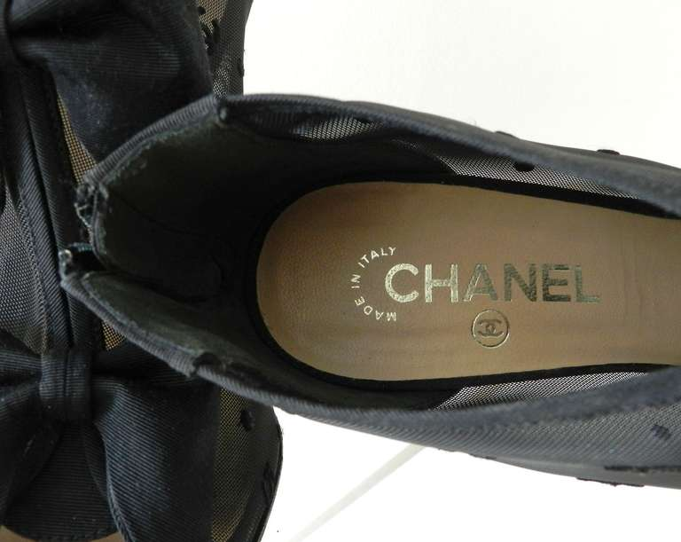 Women's Chanel Black Sheer Mesh Booties with Bows For Sale