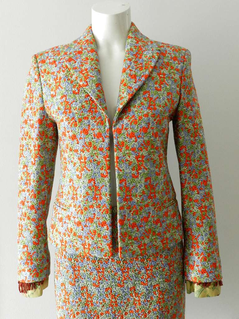 Vintage Gianni Versace Couture Orange Green Suit With