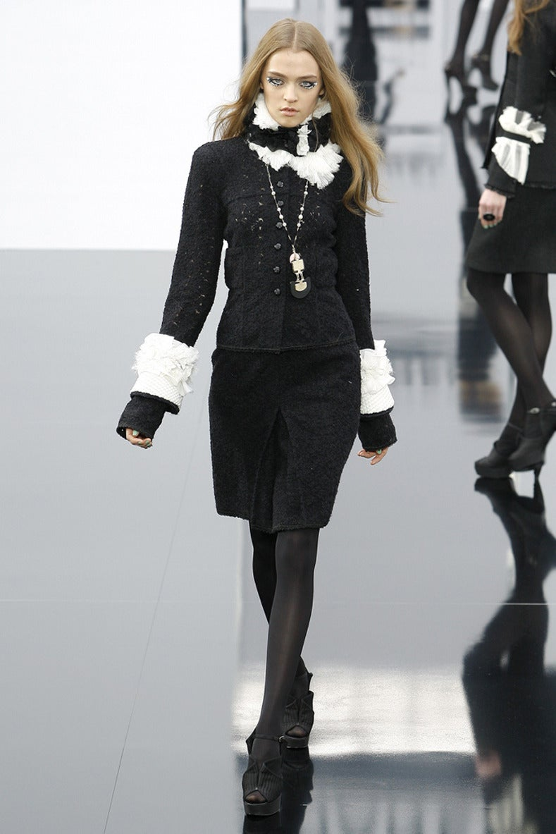 Chanel 09a Runway Pink And Black Art Deco Drop Necklace At