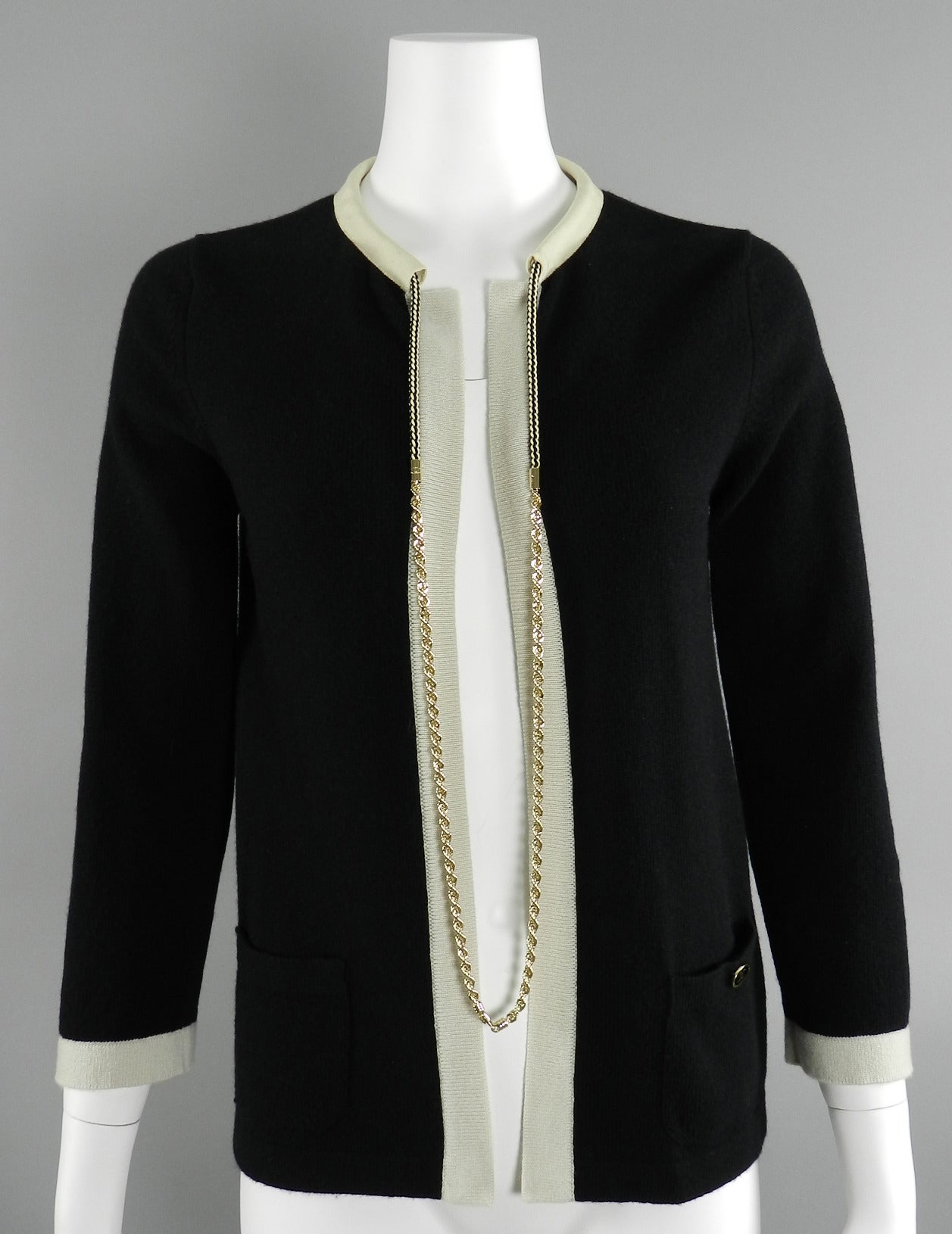 Chanel 11P Black Cashmere Cardigan with Gold Chain 5