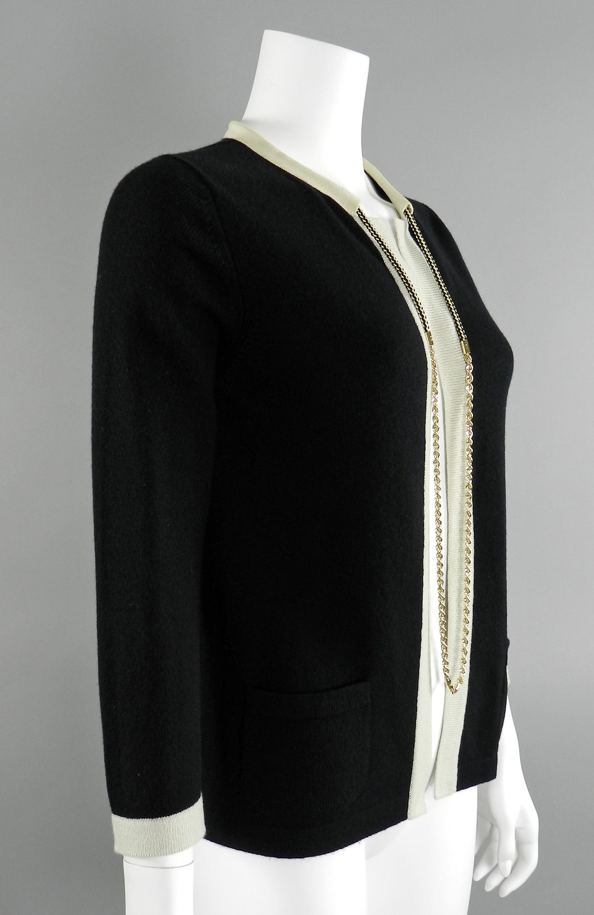 Chanel 11P Black Cashmere Cardigan with Gold Chain 2