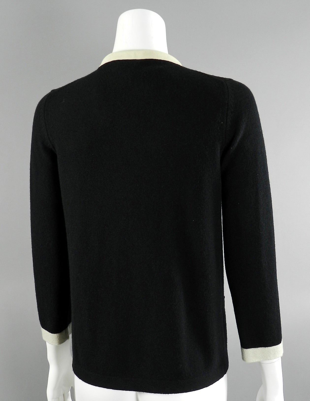 Chanel 11P Black Cashmere Cardigan with Gold Chain 3