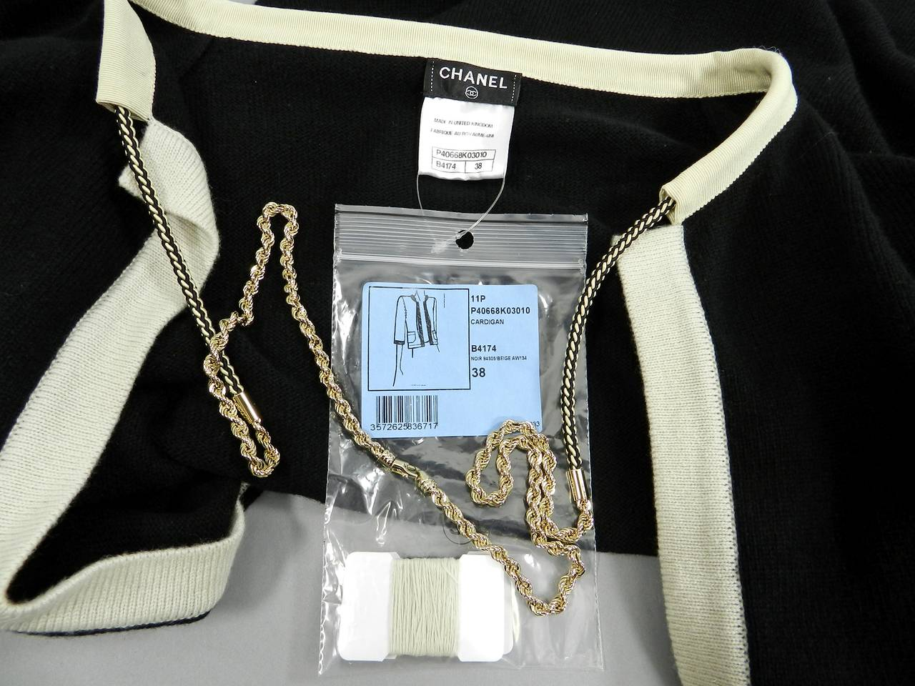 Chanel 11P Black Cashmere Cardigan with Gold Chain 4