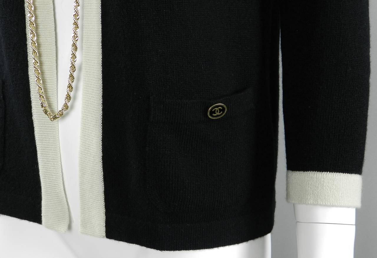 Chanel 11P Black Cashmere Cardigan with Gold Chain 6