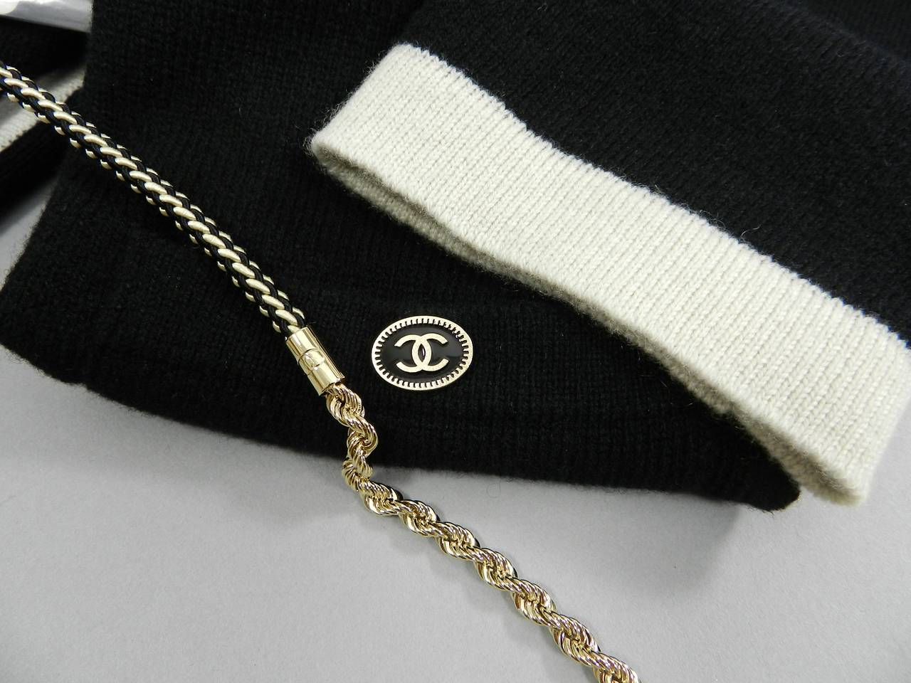 Chanel 11P Black Cashmere Cardigan with Gold Chain 7
