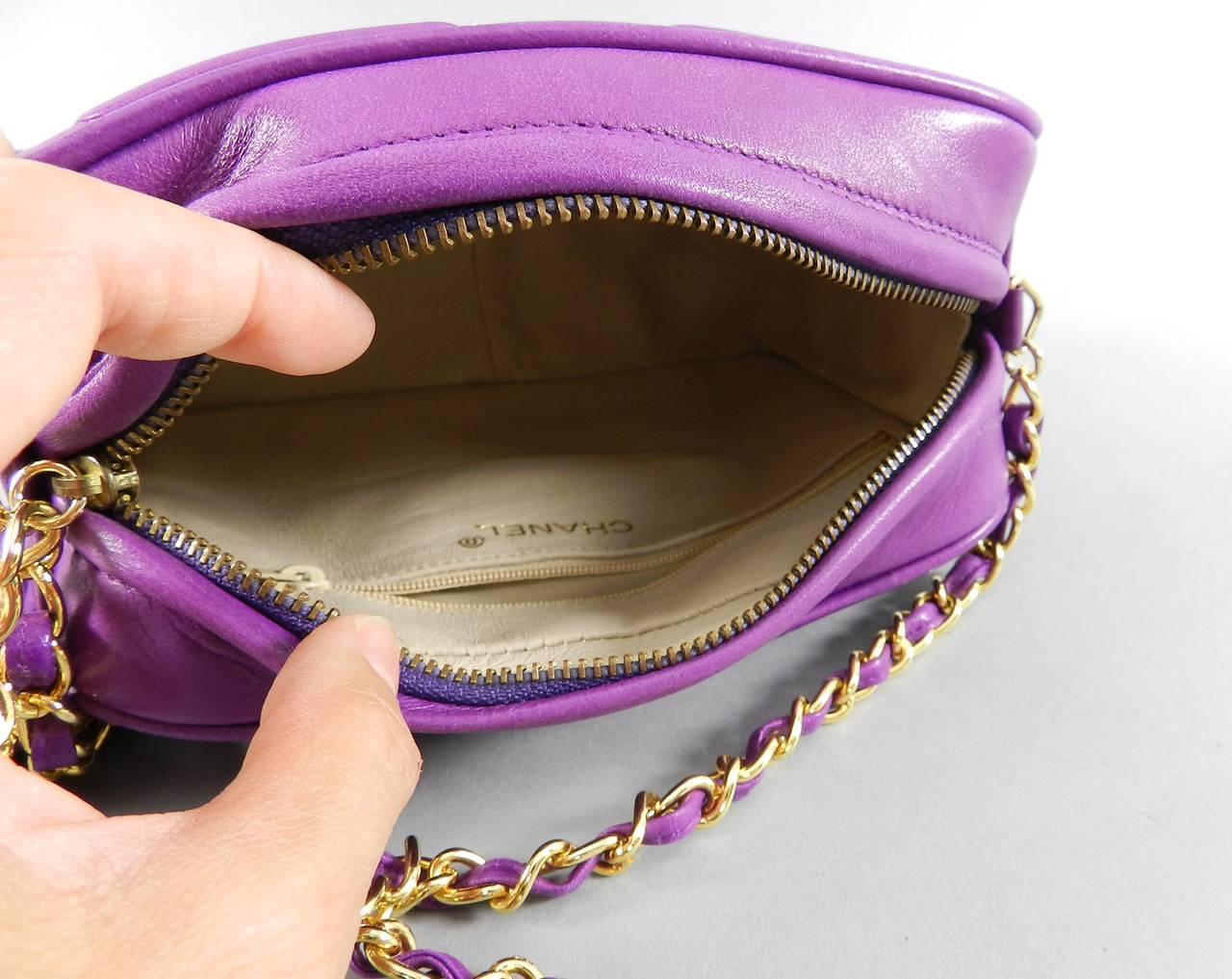6aab5385 Chanel Vintage 1986 Purple Leather Crossbody CC Chain Bag