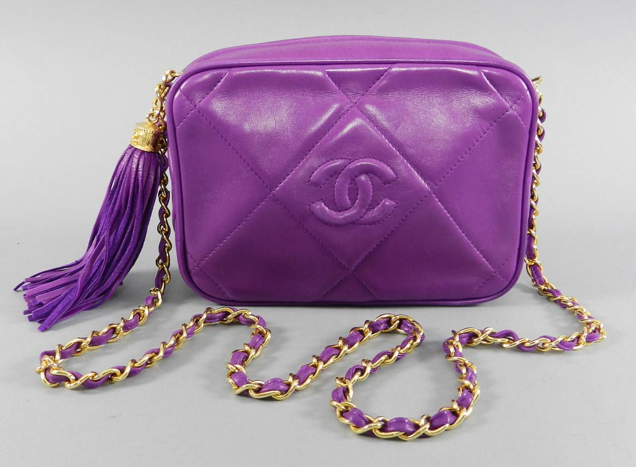 Chanel Vintage 1986 Purple Leather Crossbody CC Chain Bag 7