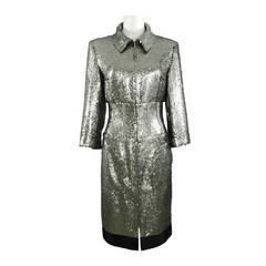 Chanel 14A Runway Silver Sequin Dress Coat