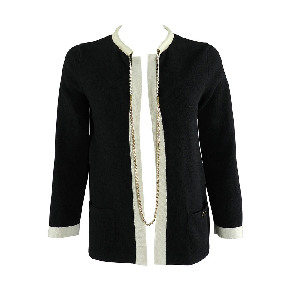 Chanel 11P Black Cashmere Cardigan with Gold Chain 1