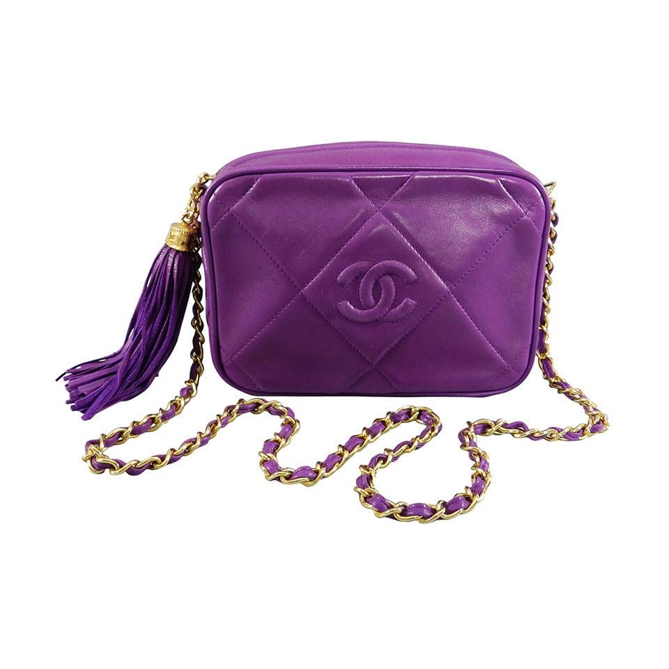 Chanel Vintage 1986 Purple Leather Crossbody CC Chain Bag 1