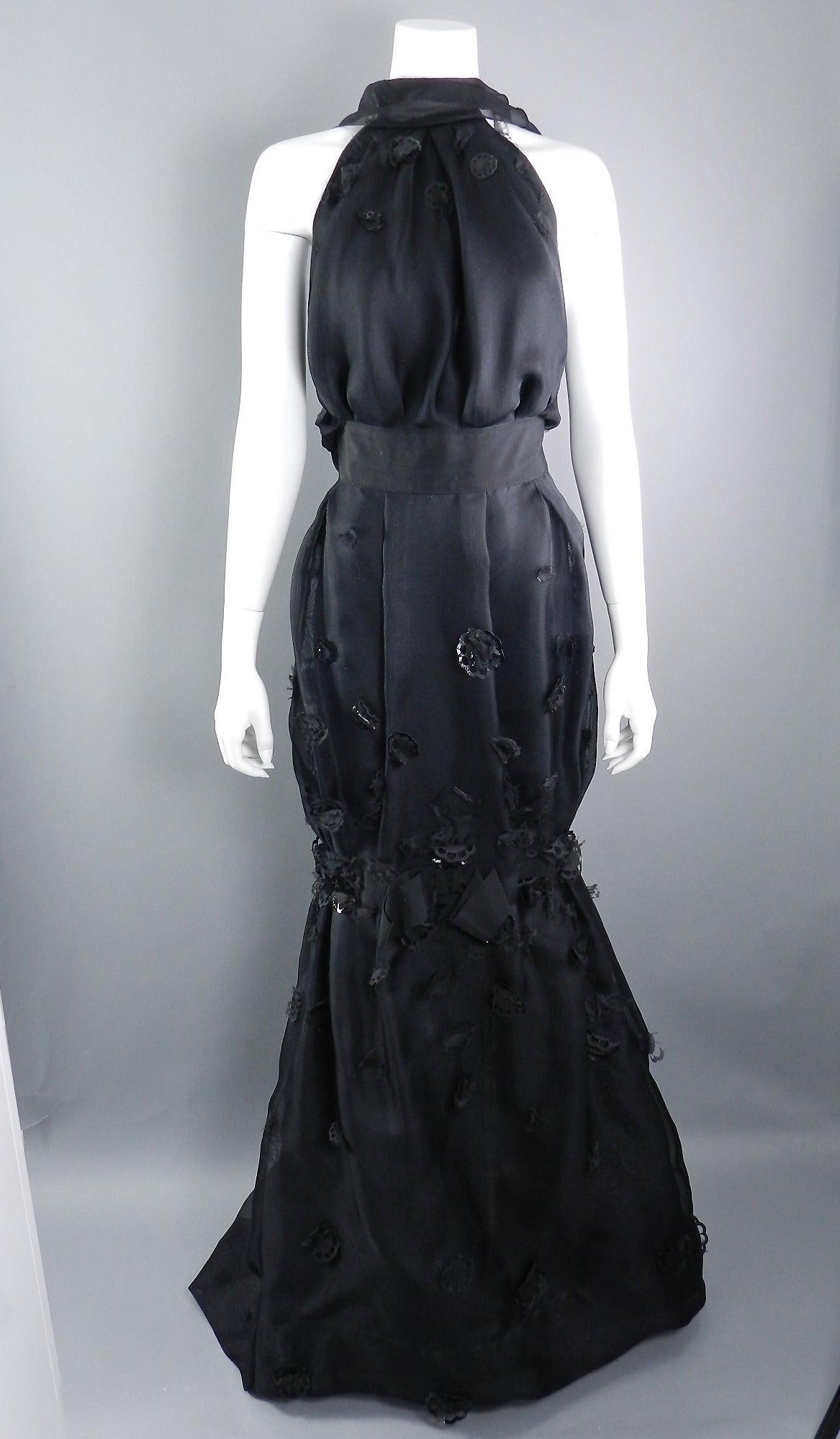 Nina Ricci 2012 Spring Black Embellished Silk Halter Gown For Sale 1