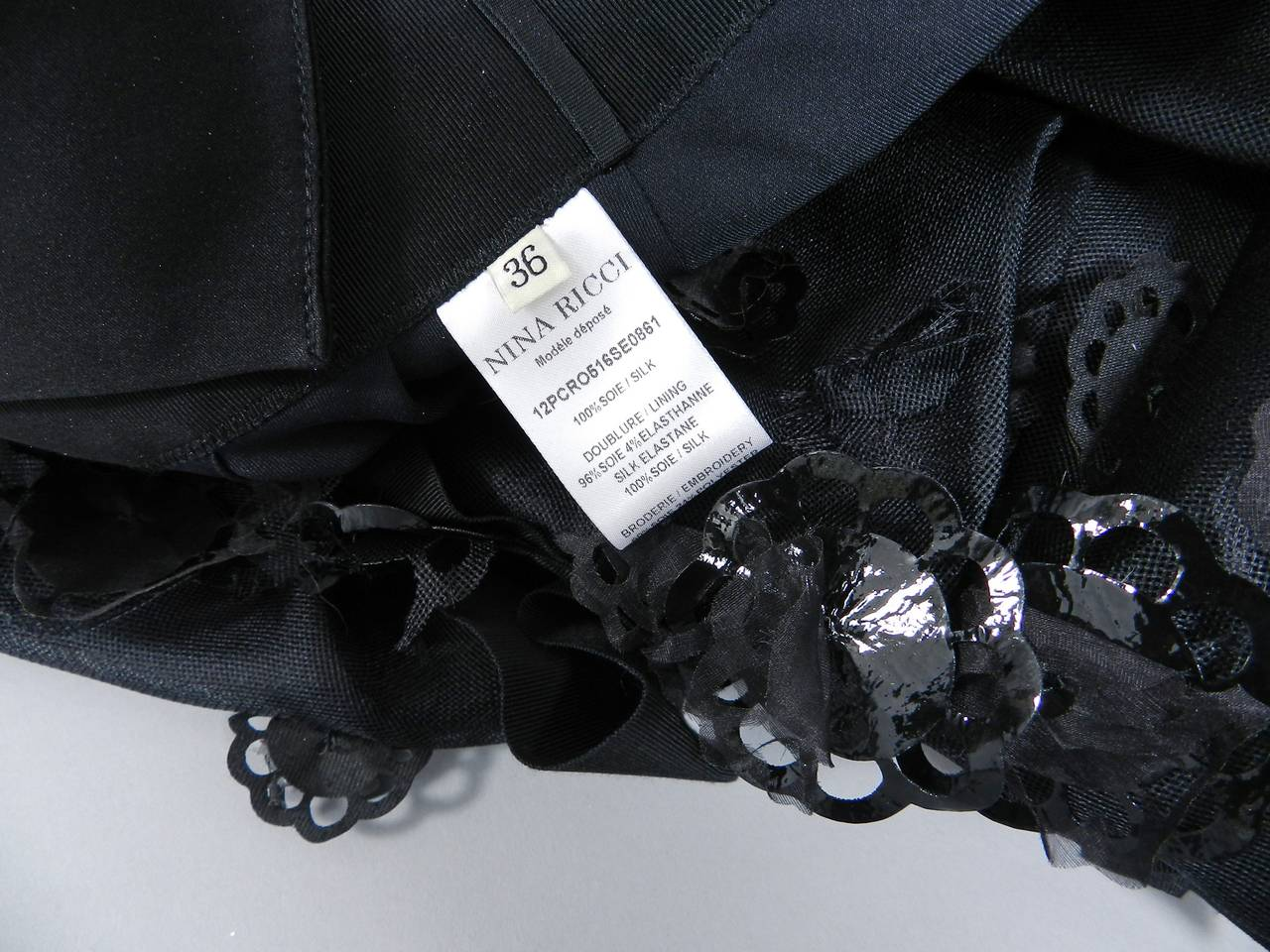 Women's Nina Ricci 2012 Spring Black Embellished Silk Halter Gown For Sale