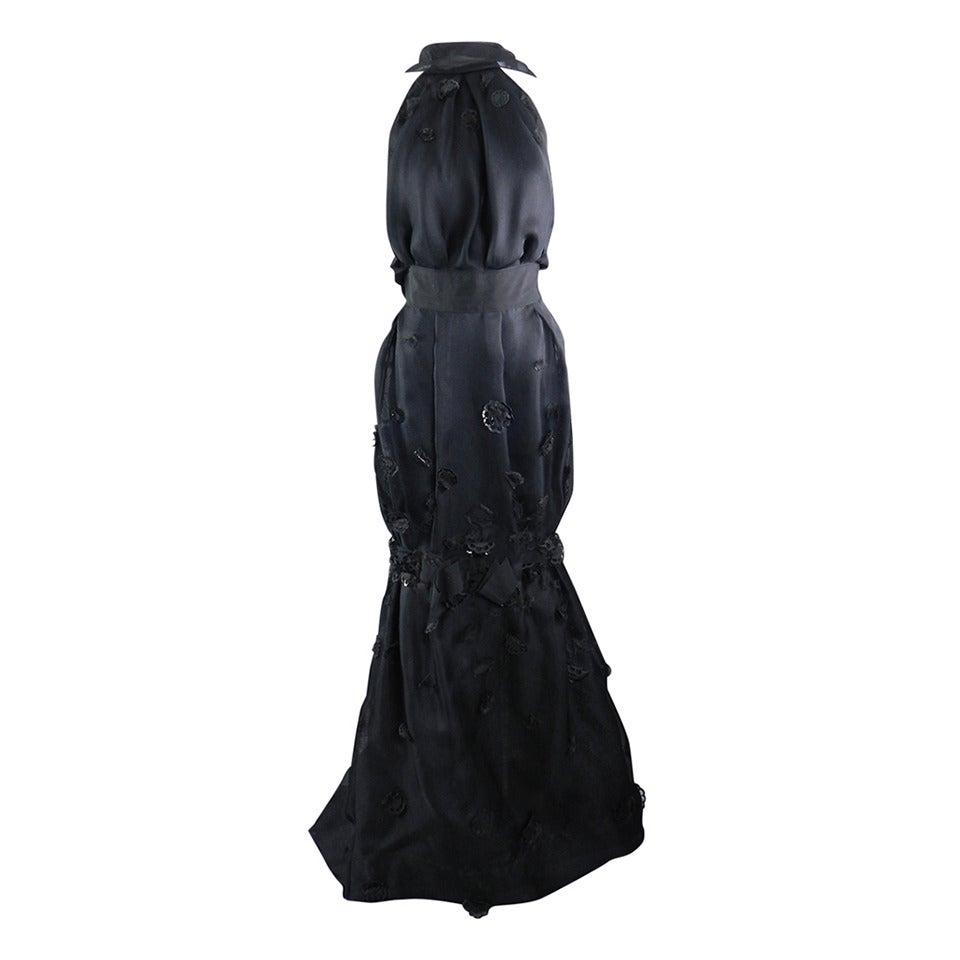 Nina Ricci 2012 Spring Black Embellished Silk Halter Gown For Sale