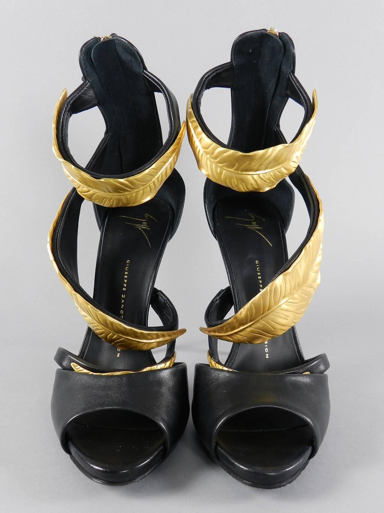 Giuseppe Zanotti Gold Metal Leaf Heels At 1stdibs