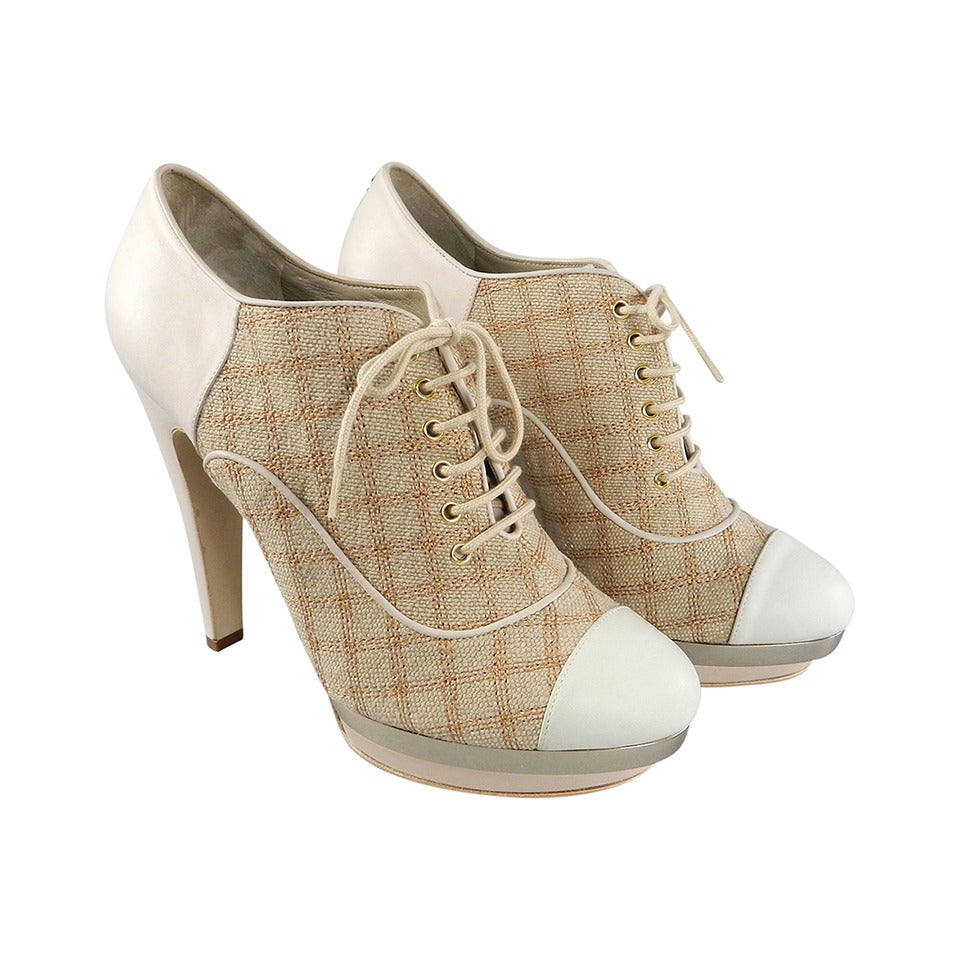 Chanel 14P Beige Linen Lace Up Booties / Shoes at 1stdibs