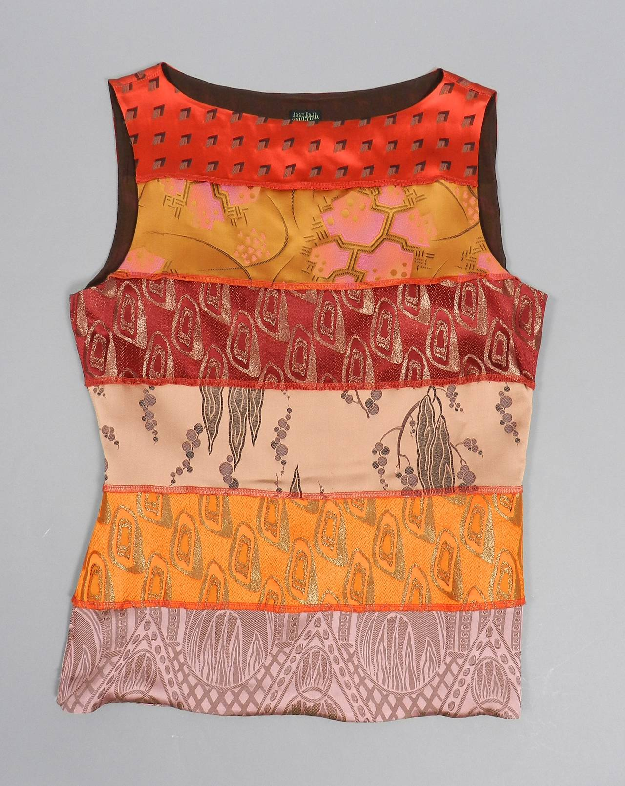 Jean Paul Gaultier Fall 2002 Runway Orange Pink Brocade Tank Top In Excellent Condition For Sale In Toronto, ON