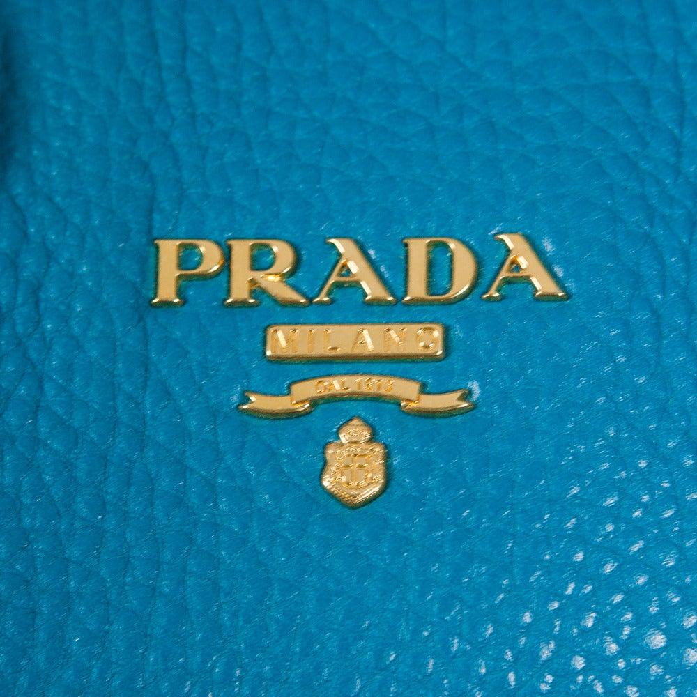 Prada Turquoise Leather Large Shoulder Bag Purse at 1stdibs