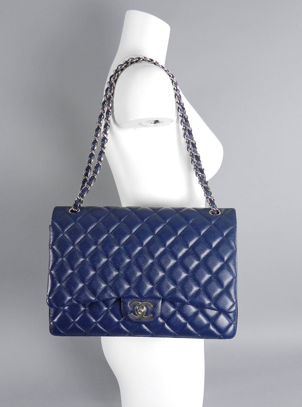 Chanel Navy Caviar Leather Maxi Size Bag Double Flap With Silvertone Hardware 15