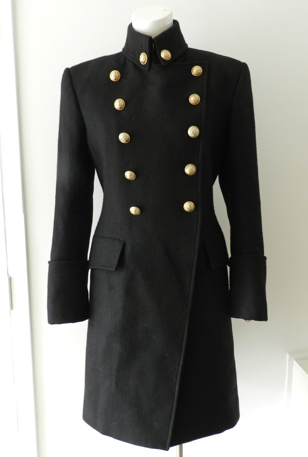 Balmain Black Wool Military Coat With Gold Buttons At 1stdibs