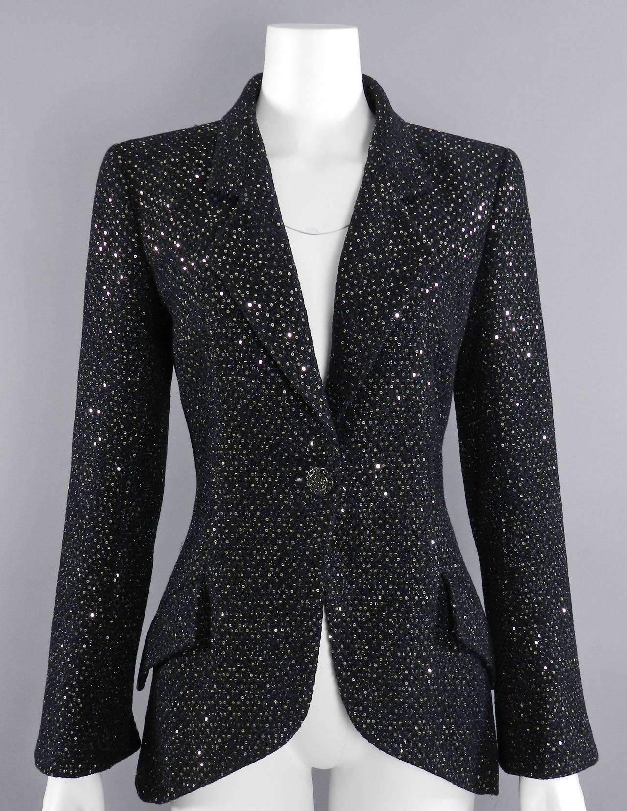 Chanel 11C Black Ad Campaign / Runway Jacket with Silver Sequins 9