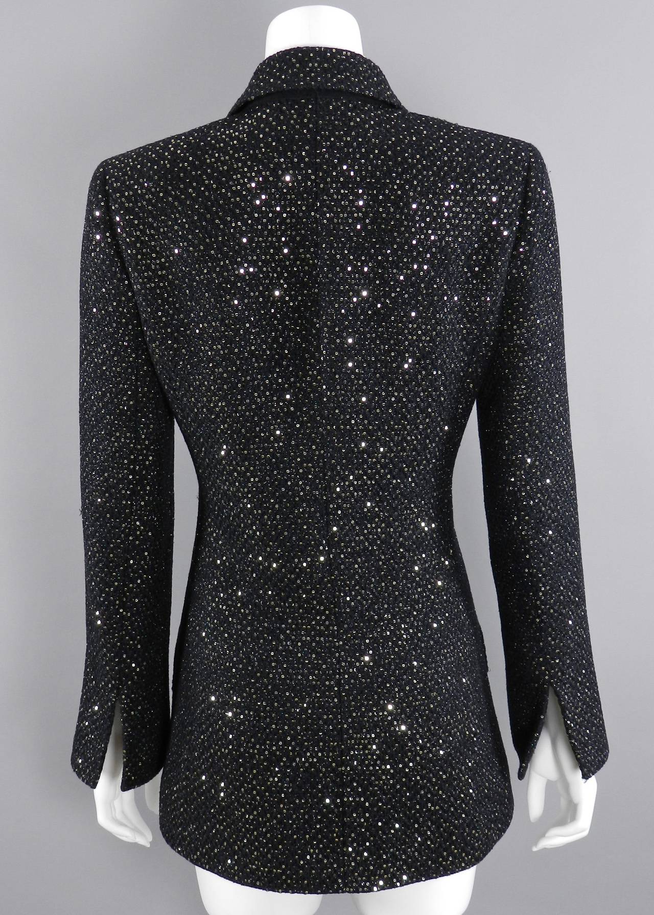 Chanel 11C Black Ad Campaign / Runway Jacket with Silver Sequins 4