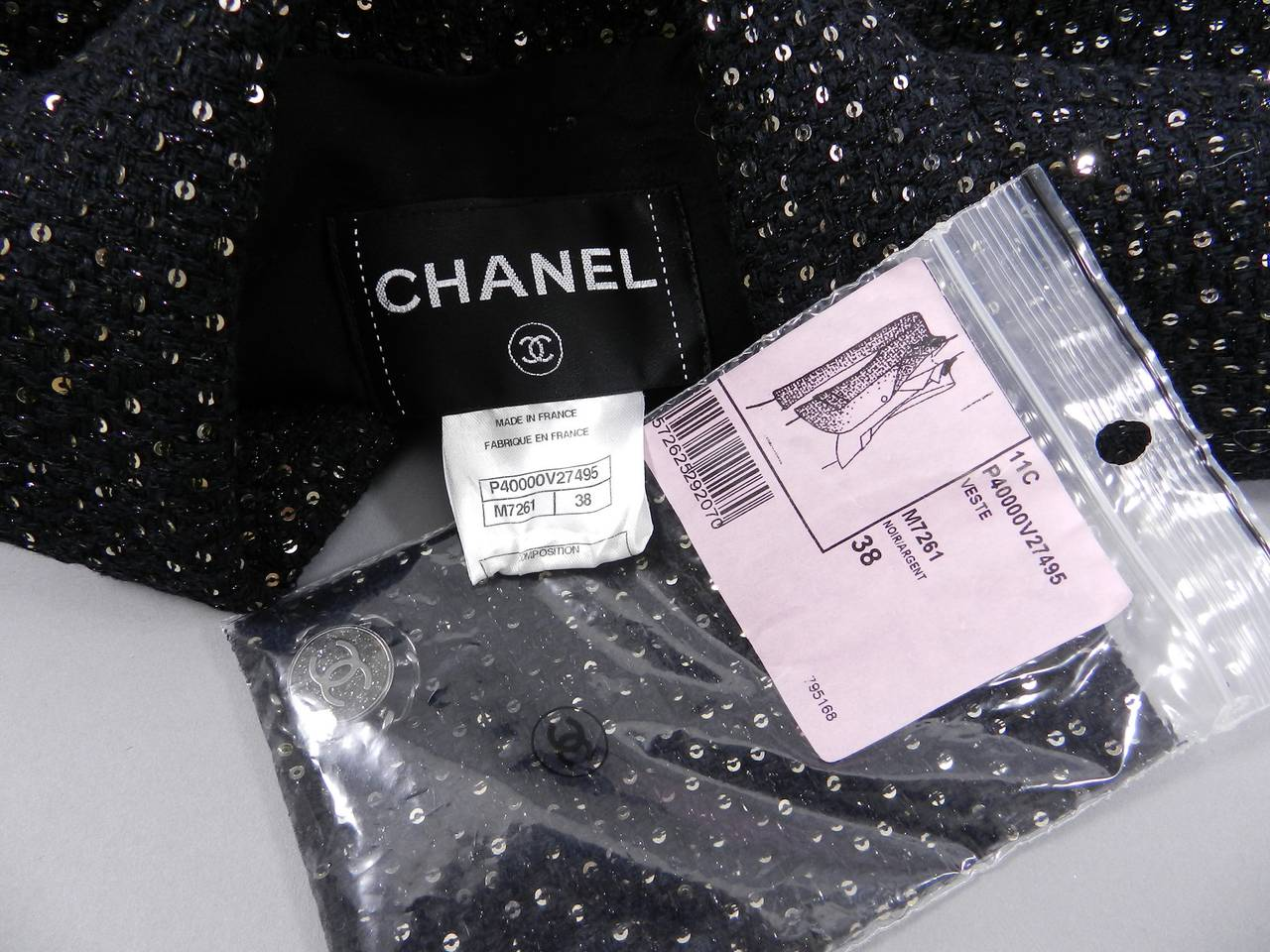 Chanel 11C Black Ad Campaign / Runway Jacket with Silver Sequins 8