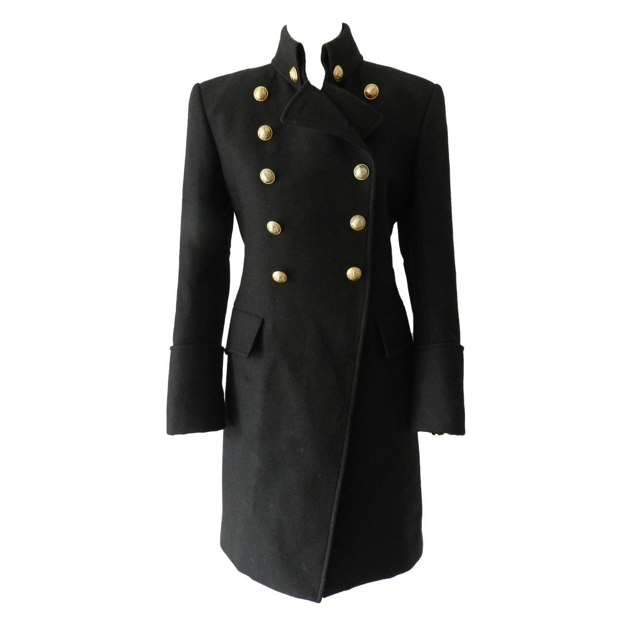 Balmain Black Wool Military Coat with Gold Buttons