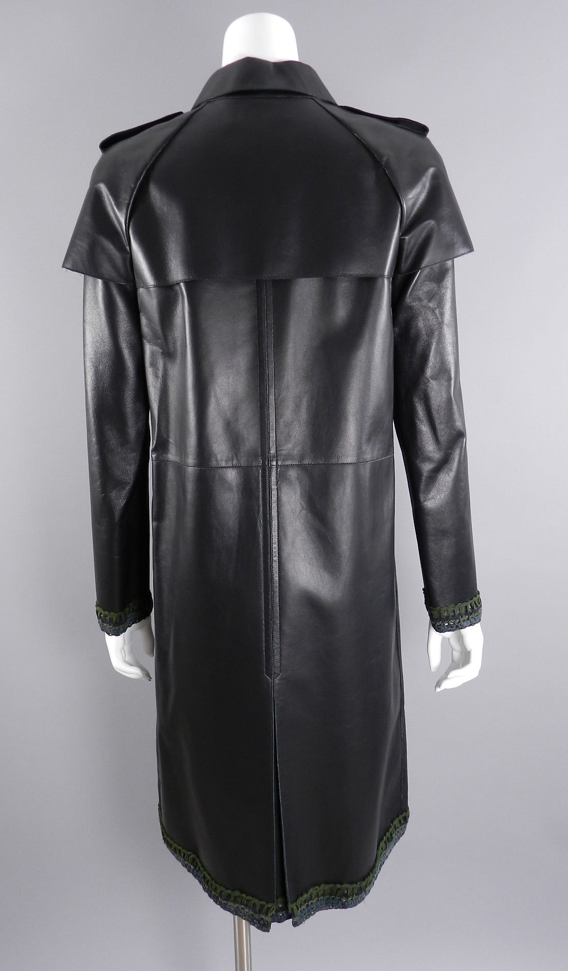 Chanel 12P Leather Coat with Green Knit Trim at 1stdibs