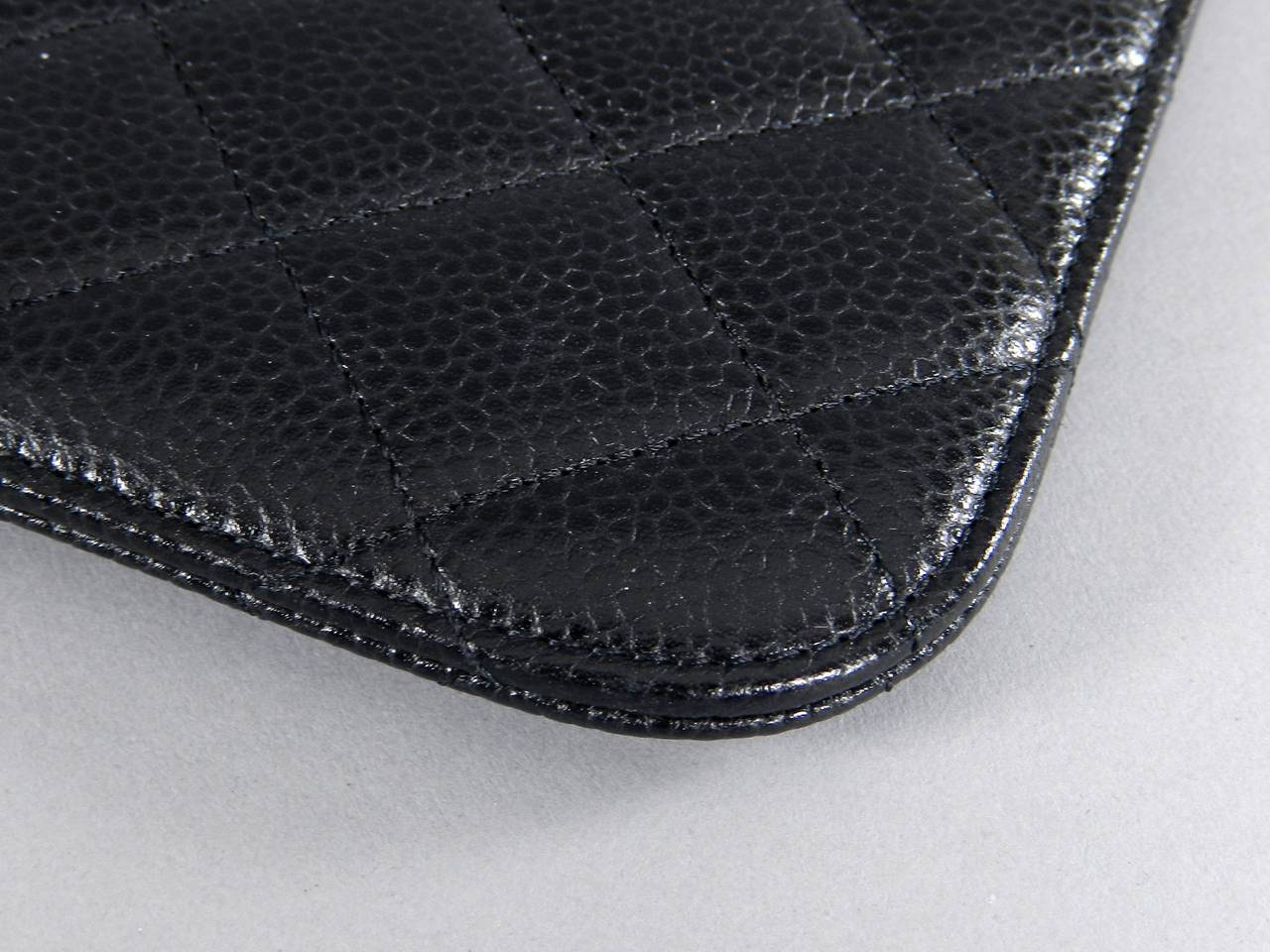 Chanel Black Caviar Ipad Case - Silvertone Hardware For Sale 2