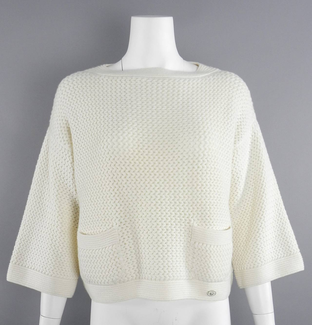 Chanel Ivory Cashmere Cropped Sweater Top 6