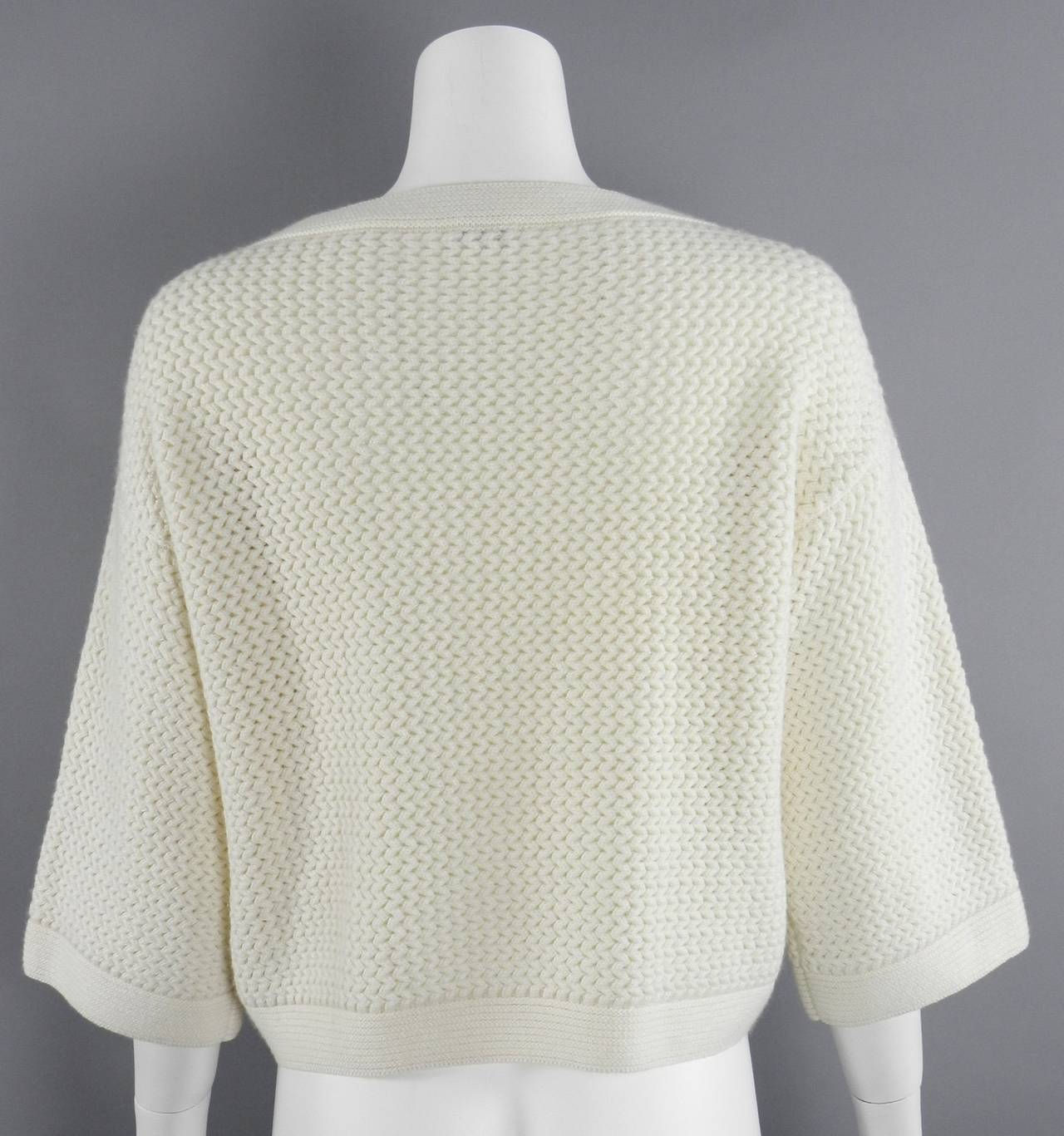 Chanel Ivory Cashmere Cropped Sweater Top 3