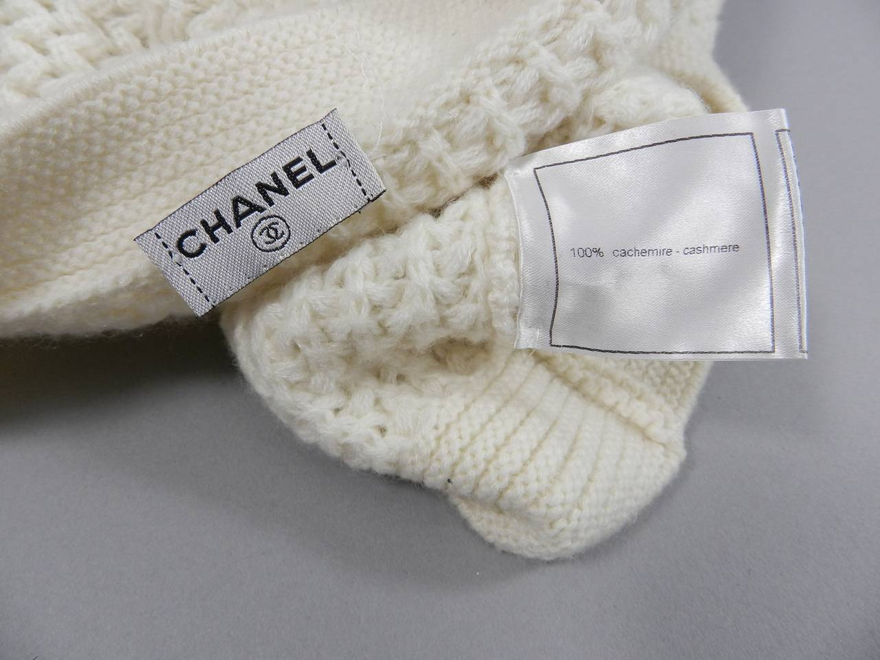Chanel Ivory Cashmere Cropped Sweater Top 5