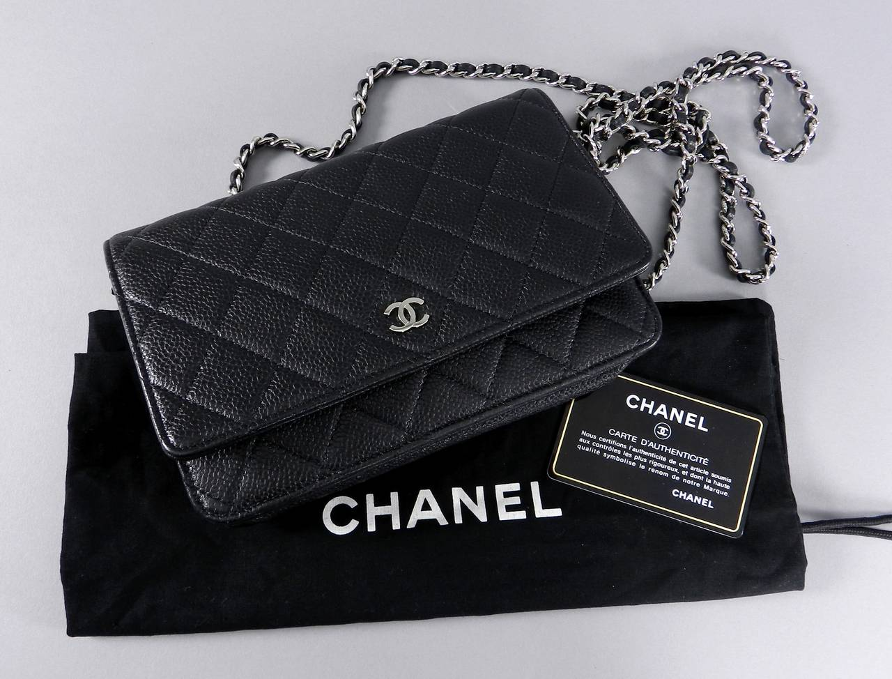 Chanel Black Caviar Leather Wallet On Chain With Silvertone Hardware Long Cross Body Strap