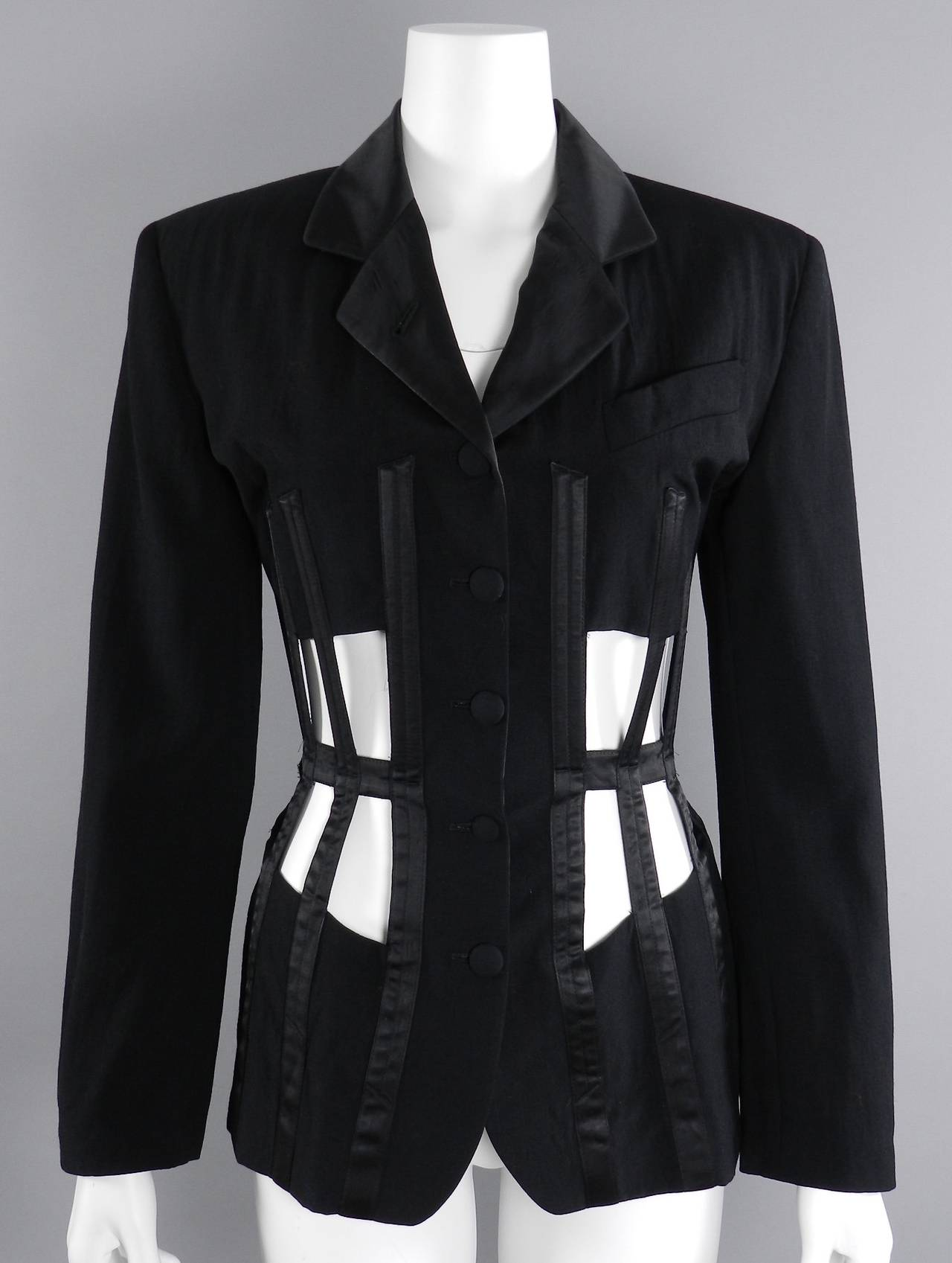 Jean Paul Gaultier Iconic 1989 Black Corset Cage Jacket 10