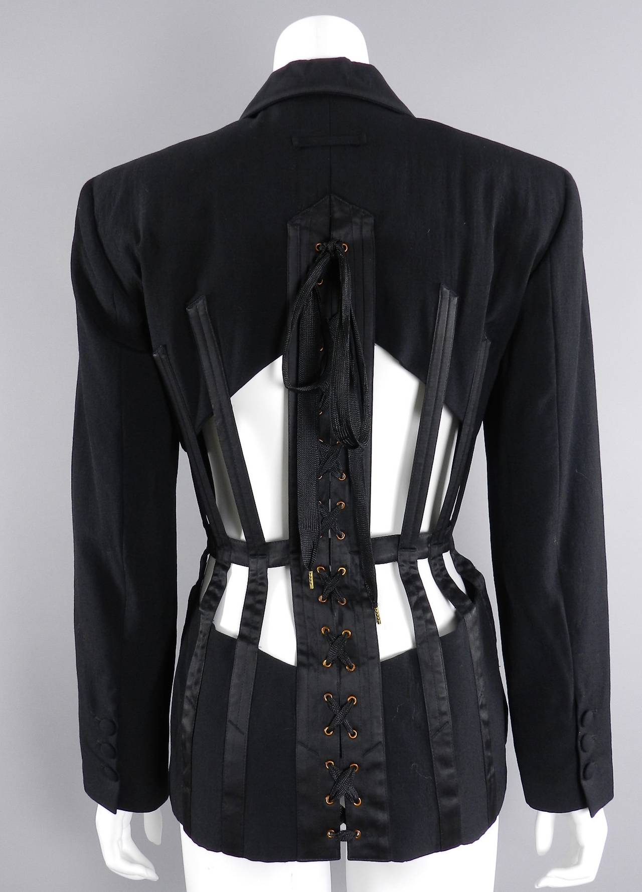 Jean Paul Gaultier Iconic 1989 Black Corset Cage Jacket 4