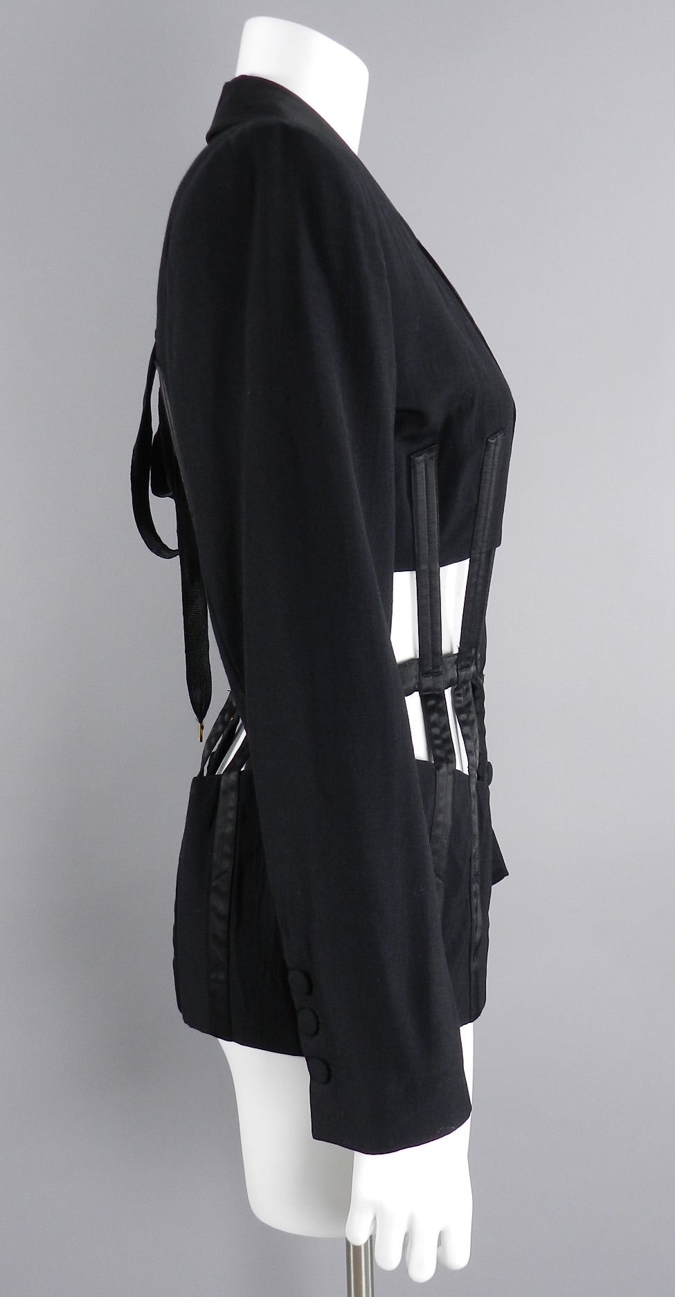 Jean Paul Gaultier Iconic 1989 Black Corset Cage Jacket For Sale 1