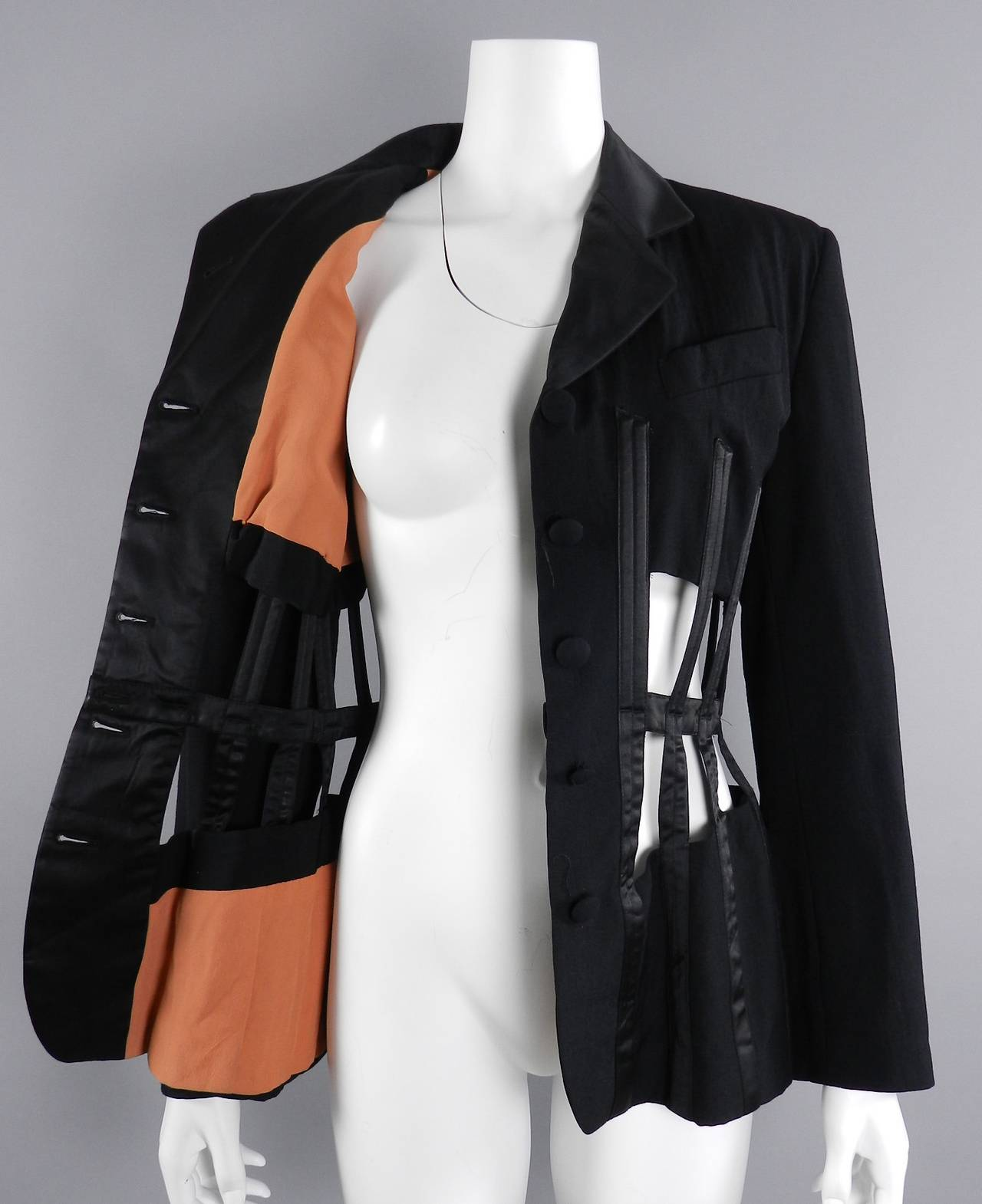 Jean Paul Gaultier Iconic 1989 Black Corset Cage Jacket In Excellent Condition For Sale In Toronto, CA