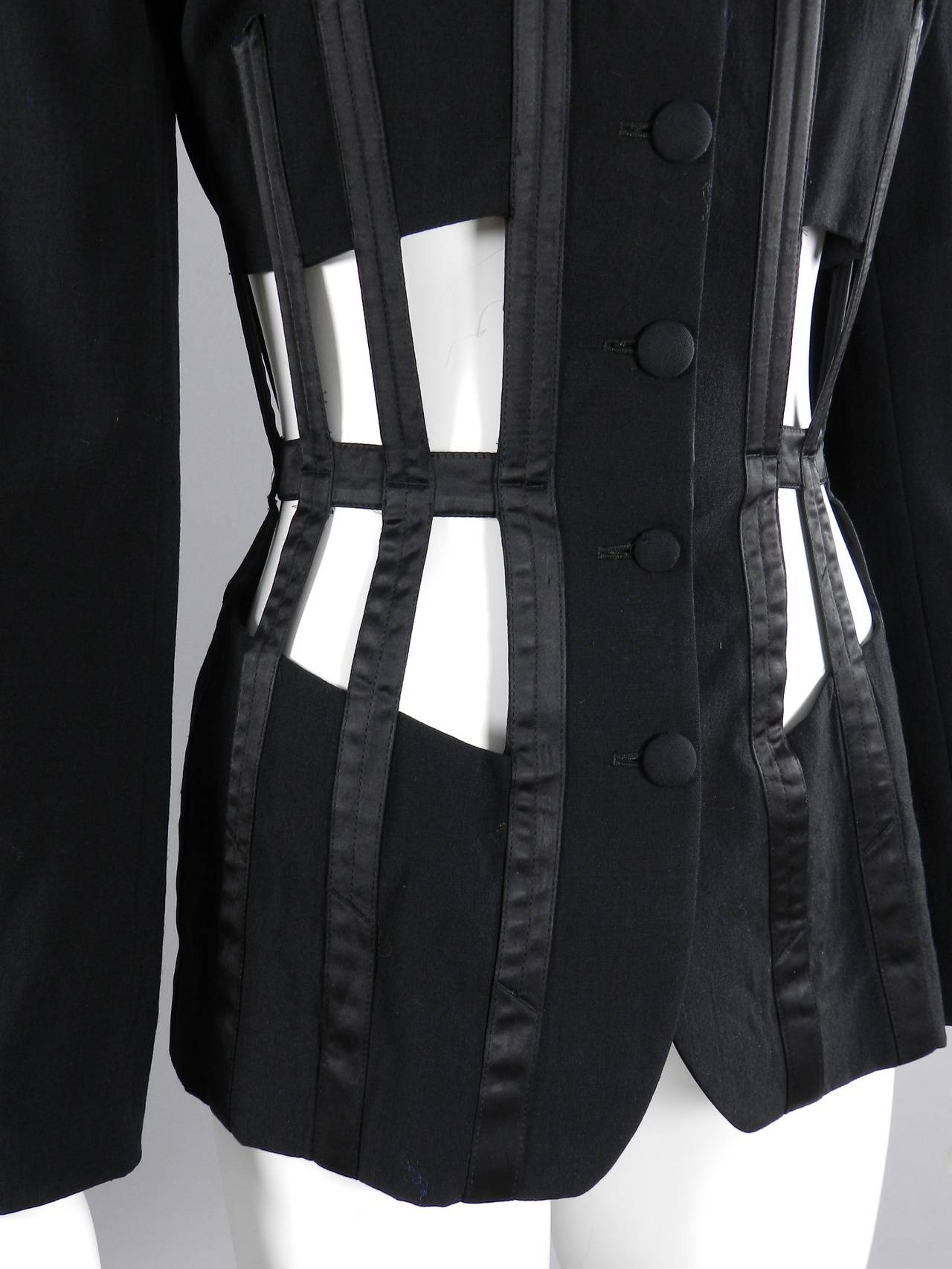 Jean Paul Gaultier Iconic 1989 Black Corset Cage Jacket 7