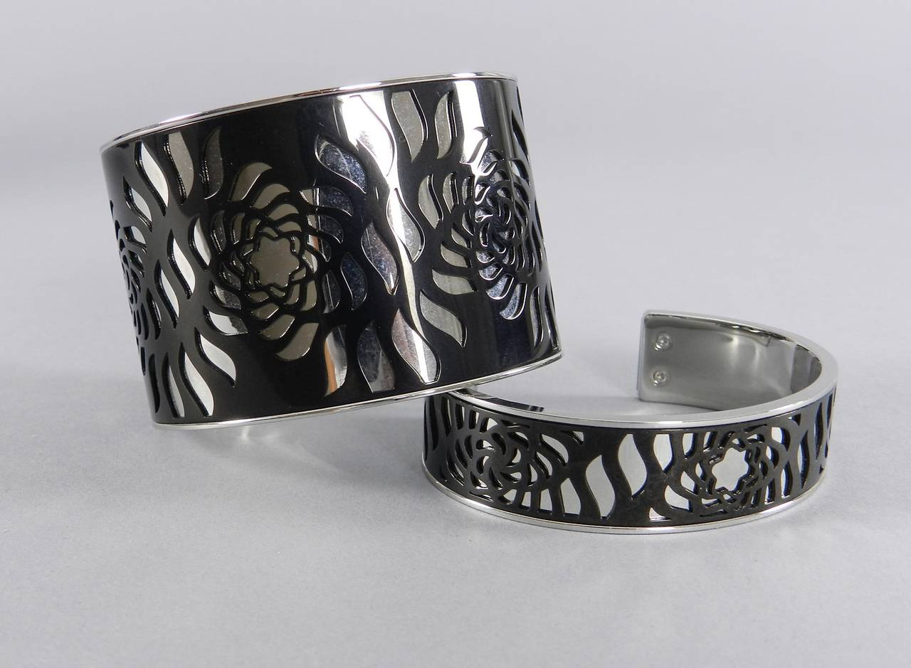Mont Blanc Black And Silver Cut Out Cuff Bracelet Set At 1stdibs