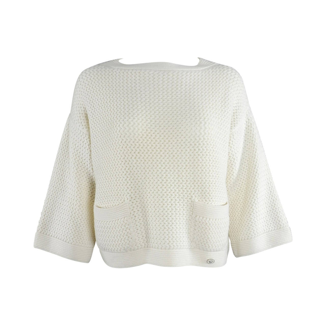 Chanel Ivory Cashmere Cropped Sweater Top 1