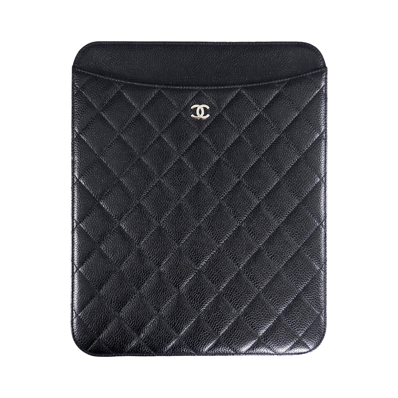 Chanel Black Caviar Ipad Case - Silvertone Hardware For Sale