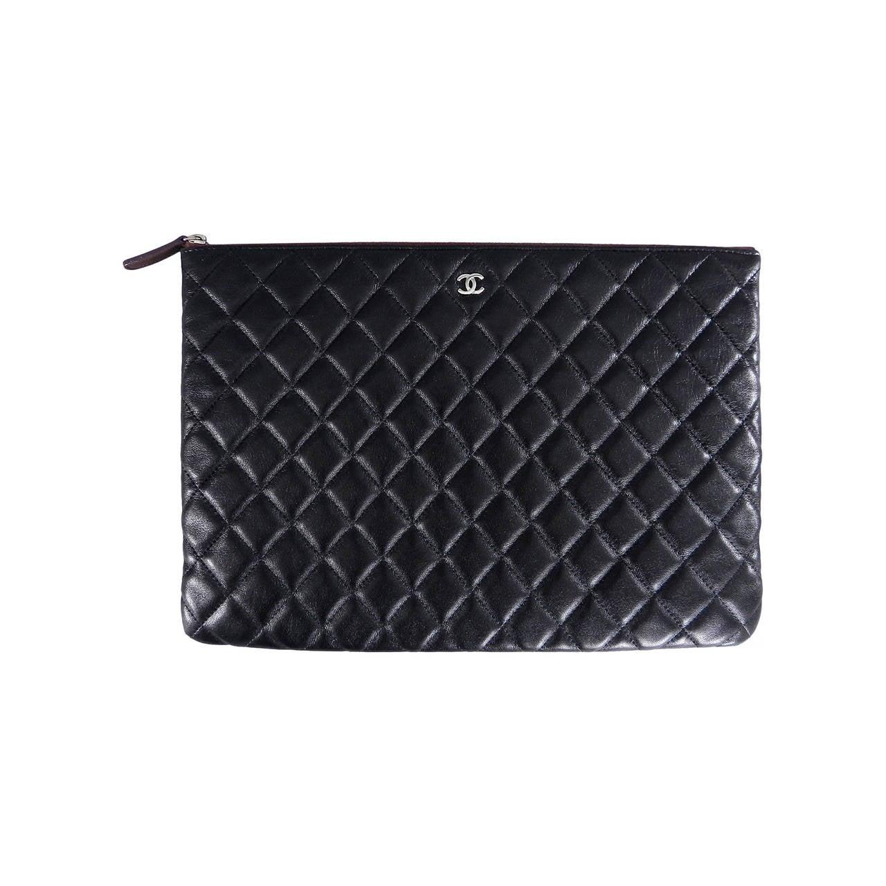Chanel Large Black Lambskin O Case / clutch / Bag at 1stdibs
