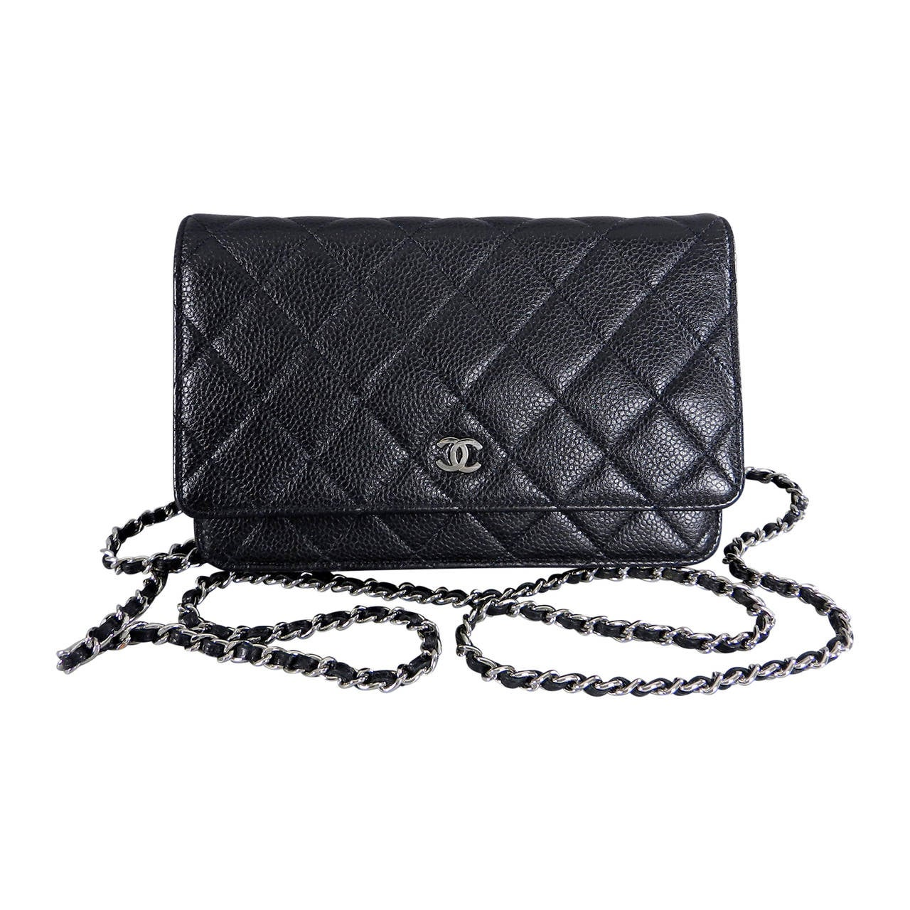 7d930212aeea Chanel Black Caviar Wallet on Chain - Silver Hardware at 1stdibs