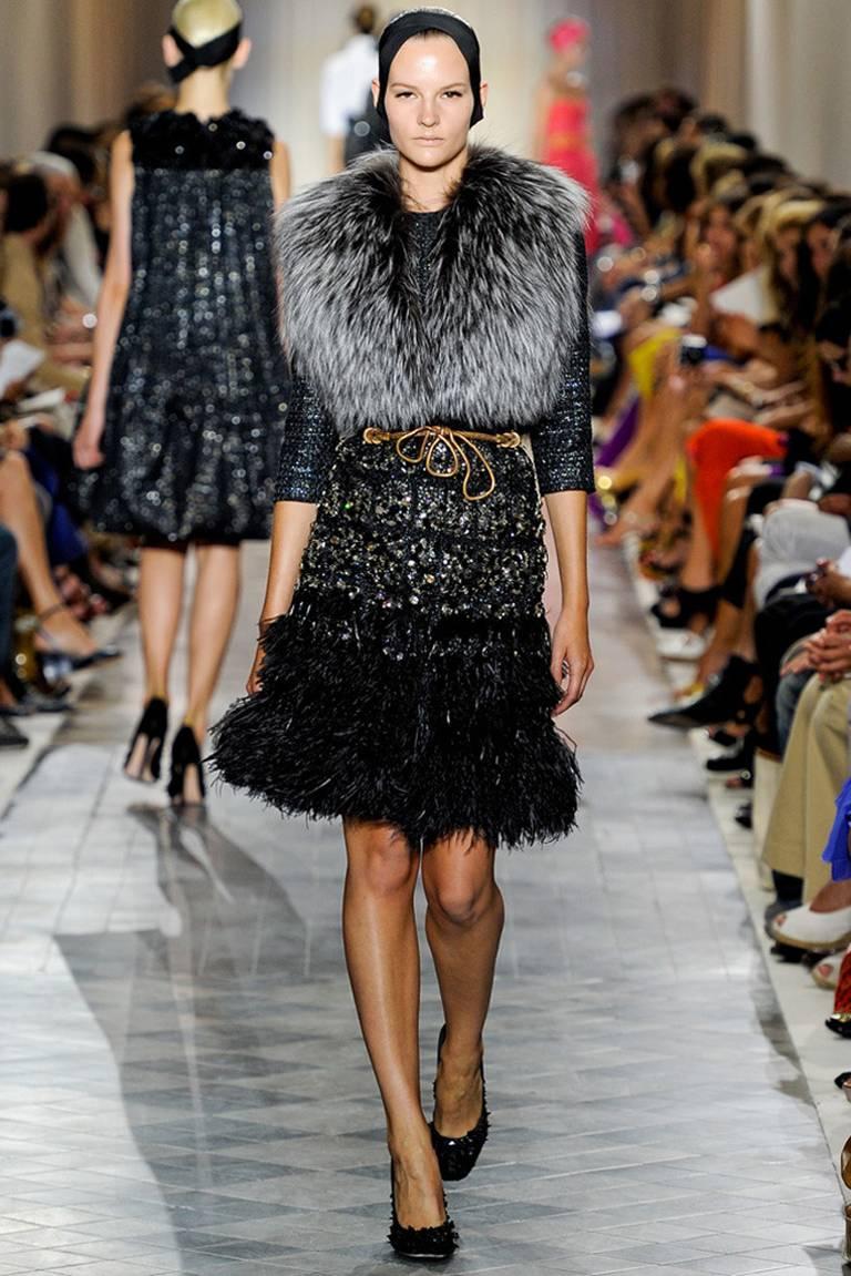 Giambattista Vali Haute Couture Crystal Beaded Feather Trim Jacket 2