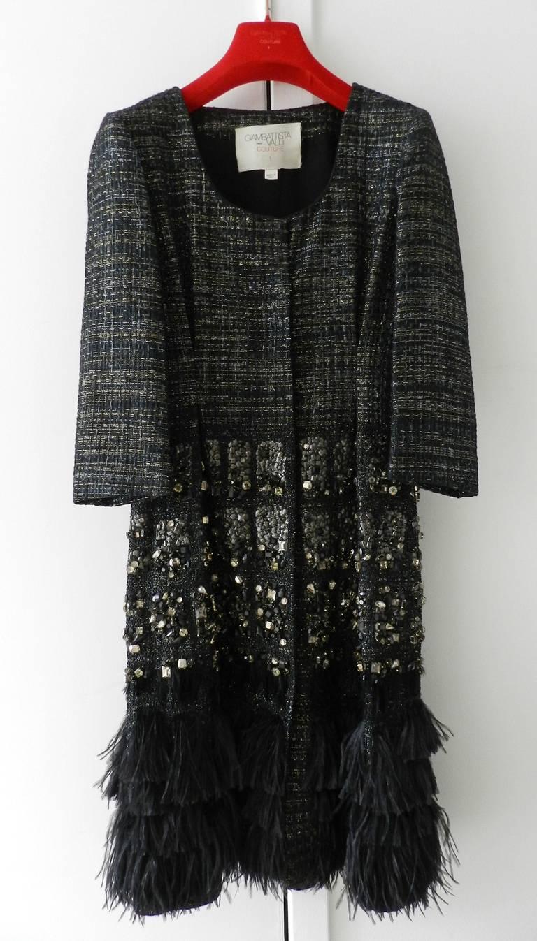 Giambattista Vali Haute Couture Crystal Beaded Feather Trim Jacket 3