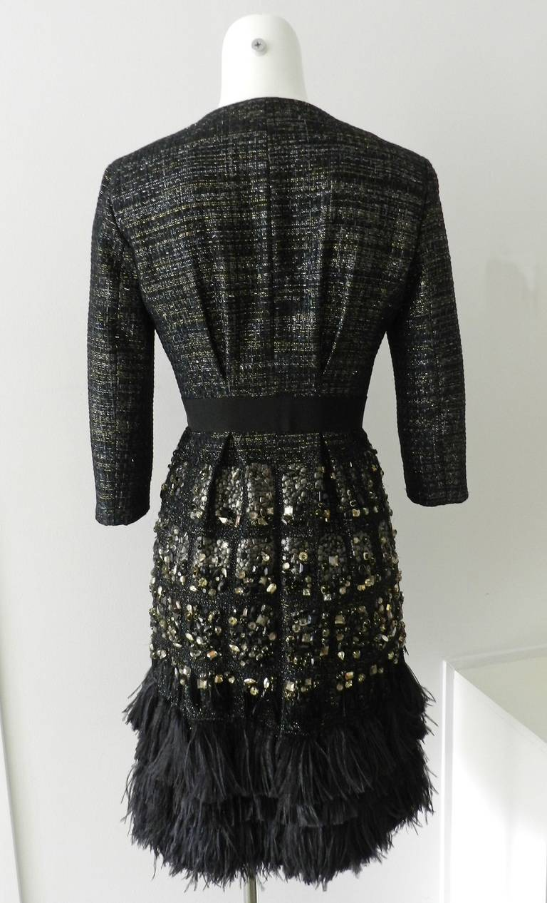 Giambattista Vali Haute Couture Crystal Beaded Feather Trim Jacket 5